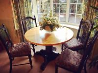 Beautiful Solid Wood Dining Table + 4 Chairs