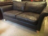 NEXT Chocolate Brown Leather Suite - 3 Seater Sofa + 2 Armchairs - UK Delivery