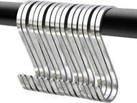 10-Pack 10.2 cm Chrome Finish Steel Hanging S Shaped Hooks For Kitchen, Bathroom