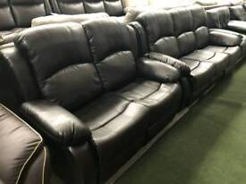 New black 3+2+1 seater endurance leather reclining sofa