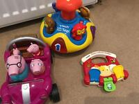 Peppa Pig Car, Vtech Spin & Animal Rattle