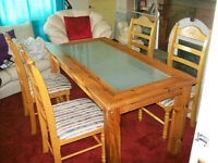 PINE DINING TABLE PLUS 4 CHAIRS.FREE DELIVERY LOCAL TO NEW MILTON