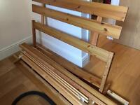 Basic pine double bed