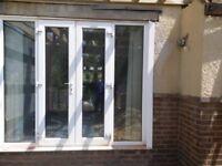 Patio garden glass door with white panels, 2.4M x 2.1M, 2 doors and 2 panes