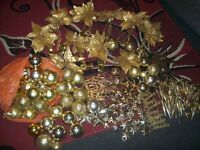 large bundle gold christmas decs