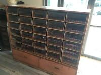 Vintage industrial engineering draws haberdashery apothecary cabinet shop display unit prop shelf
