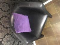 Black leather tub chair