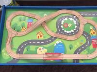 Chad valley wooden train set table.