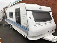 2005 HOBBY EXCLUSIVE *FIXED BED* 5/6 BERTH TWIN AXLE TOURING CARAVAN