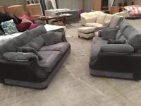Brand new grey jumbo chord 3+3 sofa suite