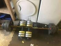 45kg weights with barbell and dumbbells