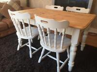 Amazing 4 1/2 ft Shabby Chic Chunky Pine Table and 4 Lovely Chairs