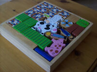 wooden toy - building bricks farm playset