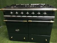 Lacanche range cooker double oven green and brass