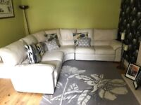 Luxury cream leather corner sofa and recliner armchair. Excellent condition.