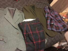 selection of kilt jackets various sizes & tartan trouser