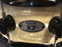 PDP X7 maple Snare Drum Cream and Black made by DW Drums