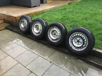 Vw t5 transporter steel wheels with new tyres. Look!!