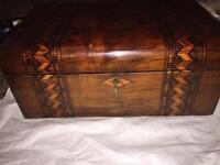 Christmas - victorian Tunbridge ware-banded walnut Jewelry box