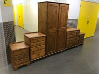 Pine solid wood wardrobe and chest of drawers set, Free delivery