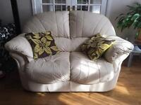 2 Seater Cream Leather Sofa & Matching Arm Chair