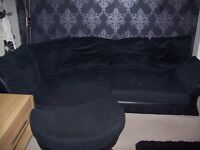 Black Fabric Corner Sofa with foot stall