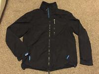 "Men's XL (40-42"" Chest) SUPERDRY Professional Windhiker Coat Jacket in Black with Blue Lining"