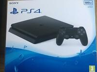 Ps4 slim 500gb brand new and sealed with huge 4 games