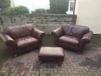 Harvey's leather love seat/sofa/chair x2 + foot stool