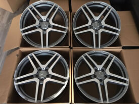 "19"" ALLOYS MERCEDES A C E CLASS A45 C63 AMG STYLE INCH ALLOY WHEELS NEW GREY POLSIHED"