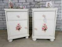 Matching Vintage Rose Antique White bedside chests with drawer