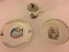 Wedgewood Peter Rabbit Cup, Plate and Bowl Set