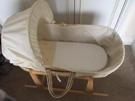 Moses basket, mattress and rocking stand