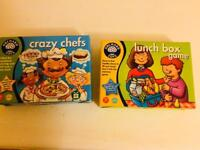 Orchard Toys Children's games. Lunch box and Crazy Chefs