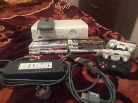 Xbox 360 with 3 controllers amd 6 games