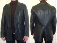 Vintage 70s black leather jacket for sale.