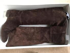 Russell & Bromley brown high suede boots size 39