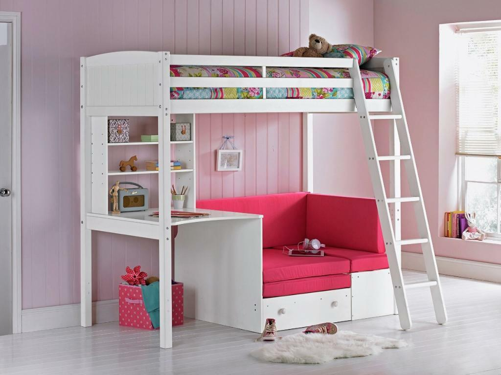 Girls High Sleeper Cabin Bed With Desk And Pull Out Sofa