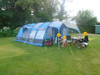 Large 8 man tent - Gelert Corvus 6+2 with porch, extension and camping equipment