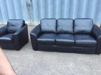 Genuine Black leather sofa