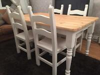 Gorgeous 5ft Shabby Chic Chunky Farmhouse Pine Table and 4 Lovely Chairs