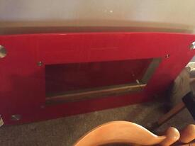 Red glass table seats 6