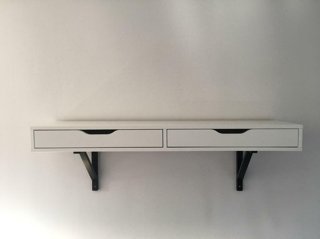 ikea ekby alex white shelf with drawers includes the black shelf mounts in whiteley hampshire. Black Bedroom Furniture Sets. Home Design Ideas