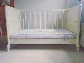Mama & Papa's Cream Vintage Style Cot-bed & Matress.