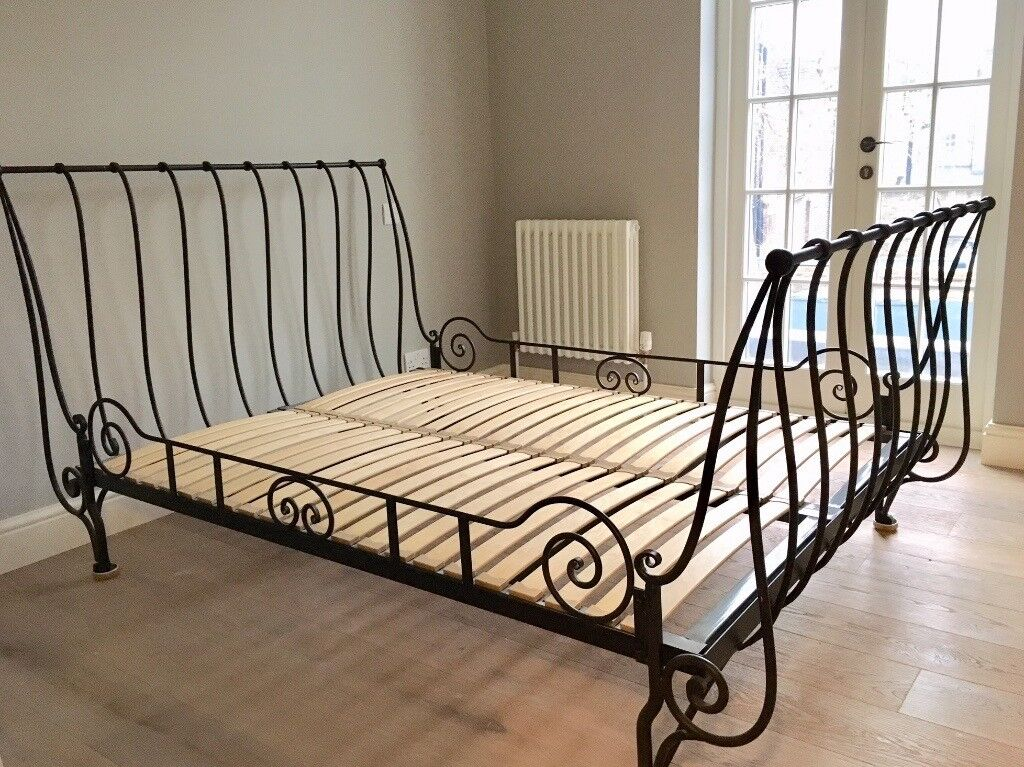 Beds Awesome Wrought Iron Sleigh Bed Wrought Iron Sleigh: Double Bed: Laura Ashley Iron Sleigh Bed