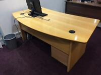 2x Solid Wood Desk & Draw