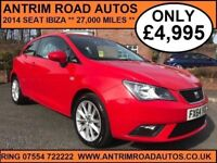 2014 SEAT IBIZA 1.4 TOCA SPECIAL EDITION ** ONLY 27,000 MILES **