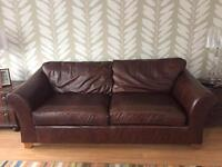 Brown leather 3-piece suite (1 sofa + 2 chairs)