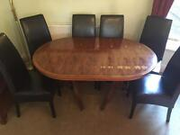 Dining table & 6 chairs - Yew