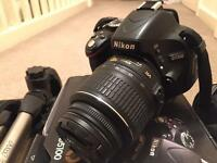 Nikon D5100 SLR with lens and accessories - mint condition